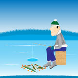 Winter fishing on river Royalty Free Stock Images