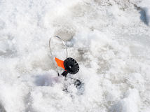 Winter fishing. Set of gear for winter fishing on the river Stock Image
