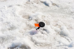 Winter fishing. Set of gear for winter fishing on the river Royalty Free Stock Image