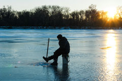 Winter fishing. Ukraine. Dnepr River. Royalty Free Stock Photography