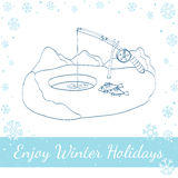 Winter Fishing. Vector Illustration On White Royalty Free Stock Photos