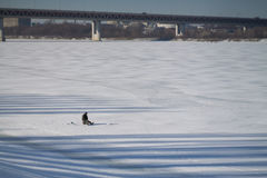 Winter fishing. On the Volga River, Russia Royalty Free Stock Photo