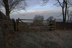 Winter five bar gate Royalty Free Stock Photography