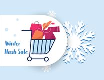 Winter flash sale bag shopping chart tag vector banner in snow. Flakes background for seasonal retail promotion online stock illustration