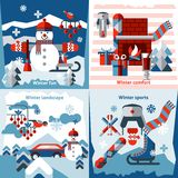 Winter flat icons set. With sports comfort fun landscape isolated vector illustration Royalty Free Stock Photo