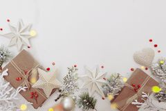 Free Winter Flat Lay With Natural Branches. Leaves And Presents On Light Background Royalty Free Stock Image - 165959836