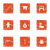 Winter flavour icons set, grunge style. Winter flavour icons set. Grunge set of 9 winter flavour vector icons for web isolated on white background royalty free illustration