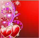 Winter floral background with two heart Royalty Free Stock Photo