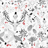 Winter floral design with deer Stock Photos