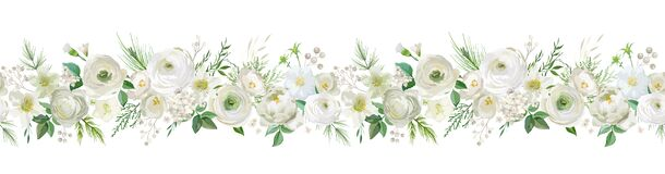 Free Winter Floral Vector Garland Border, Watercolor Flowers Christmas Season Frame, Holiday Seamless Background Royalty Free Stock Photography - 196292117
