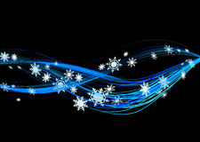 Winter flow. Background  illustration of snowflakes winter flow in black Royalty Free Stock Images