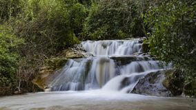 Winter flow at Hashofet Waterfall. North of israel Hashofer stream long exposure water falling royalty free stock photography