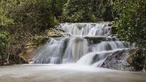 Winter flow at Hashofet Waterfall. North of israel Hashofer stream long exposure water falling royalty free stock photo