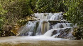 Winter flow at Hashofet Waterfall. North of israel Hashofer stream long exposure water falling stock images