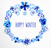 Winter flowers wreath greeting card Stock Photo