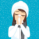 Winter Flu Blowing Nose Stock Photography