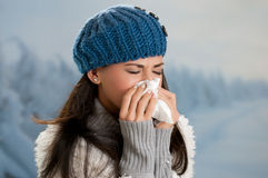 Winter flu and fever Royalty Free Stock Images