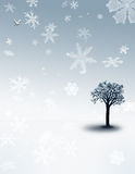 Winter Flurry. Winter Landscape with Snowflakes Vector Illustration
