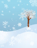 Winter Flurry. Snowflakes fall onto a snow covered hillside Royalty Free Illustration