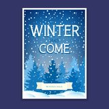 Winter Flyer with Spruces. Flyer with Spruces and Text Winter has Come, Poster Christmas Final Sale, Vector Illustration Stock Image