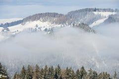 Winter fog at the Pilatus mountain, Luzern, Switzerland Stock Image