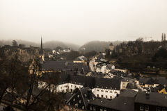 Winter fog views of the city of Luxembourg Stock Photos