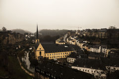 Winter fog views of the city of Luxembourg Stock Image
