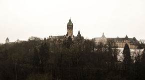 Winter fog views of the city of Luxembourg Stock Photography
