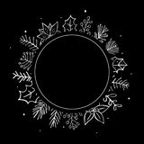 Winter foliage plants twigs branches flowers black and white cirlce round frame. Template Stock Photos