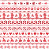 Winter folk art vector seamless pattern, Christmas red ornament hand drawn style, retro background on white royalty free illustration