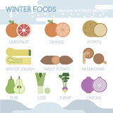 Winter foods seasonal vegetables and fruits Stock Photo