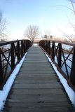 Winter on a Footbridge Royalty Free Stock Photography