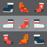 Winter footwear. Set of flat winter footwear icons Royalty Free Stock Images