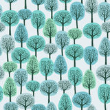 Winter forest. Seamless pattern with colorful winter trees Stock Photos