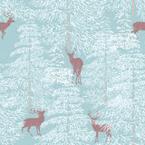 Winter forest. Seamless pattern with winter forest and reindeer - vector illustration Stock Photos