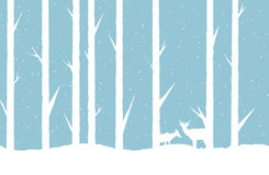 Winter Forest. Vector abstract illustration of a winter forest with two deers Stock Image