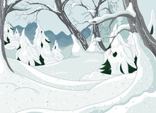 Winter Forest. Illustration of Winter Forest Landscape Royalty Free Stock Images