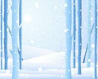 Winter forest. An illustration of the edge of a forest in winter with frosted tree trunks and snowy fields and light snowflakes falling from an icy blue sky Royalty Free Stock Image