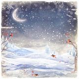 Winter forest. Landscape with bullfinches which peck the berries of rowan royalty free illustration