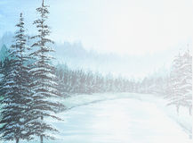 Winter Forest. Illustration with acryl on a textured paper Stock Image