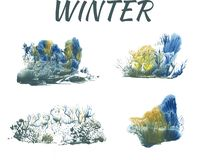 Winter forest, abstract drawing on white background. Group of objects vector illustration