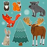 Winter forest animals. Winter forest cute animals set vector illustration Stock Image