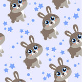 Winter forest background with animals and trees. Seamless pattern. Cartoon hare, seamless background can be used in textiles, polygraph and web design for Stock Photography