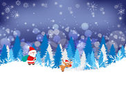 Winter forest background with deer and santaclaus Royalty Free Stock Image