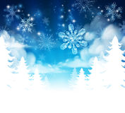 Winter Forest Background Header. Winter Christmas trees snow background with clouds and stars. Fades to white at the bottom for easy use as border design or Royalty Free Stock Images