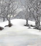 Winter forest background scene stock illustration