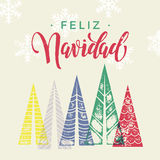 Winter forest background for Spain Christmas greeting card. Winter forest background with Christmas trees for italian greeting card. Feliz Navidad spanish Merry Royalty Free Stock Photo