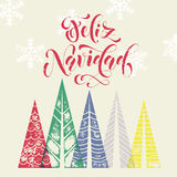Winter forest background for Spain Christmas greeting card Stock Image
