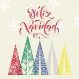Winter forest background for Spain Christmas greeting card. Winter forest background with Christmas trees for italian greeting card. Feliz Navidad spanish Merry Stock Image