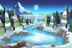 Winter forest background. Winter forest, vector background low poly style Royalty Free Stock Photos